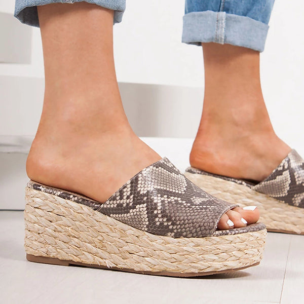 Women Slip-On Peep Toe Wedge Heel Plus Size Sandals