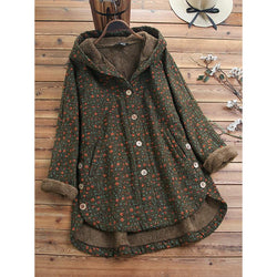 Warm Floral Casual Hooded Plush Coats