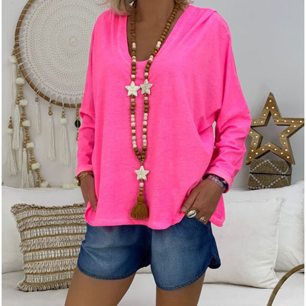 Women Solid Color Casual Loose Blouses