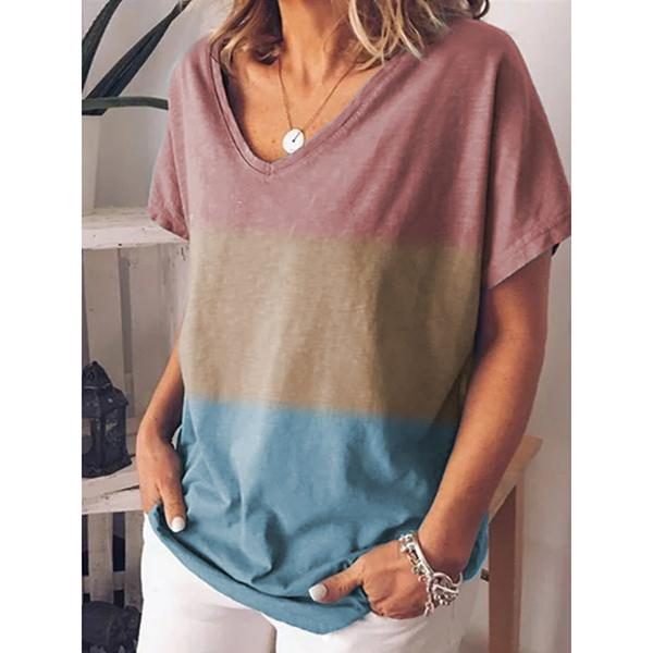 Plue Size Stitching Color V Neck Blouse