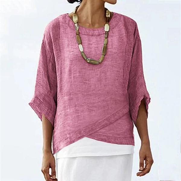 Daily Hem Irregular Solid Color Blouse