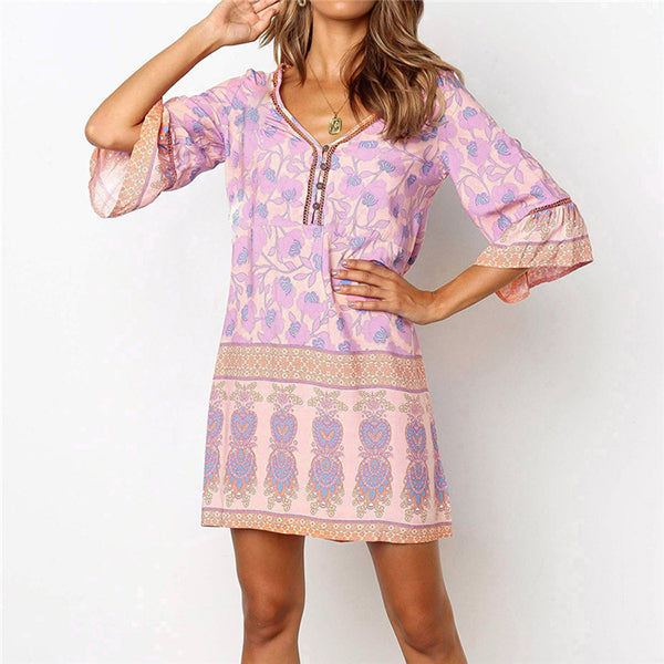 V Neck Printed 1/2 Sleeve Dress