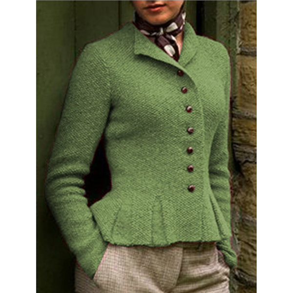 Women Buttoned Vintage Sweater Coat