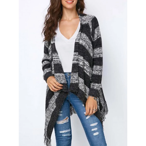 Casual Knitting Tassels Striped Outerwear Coats