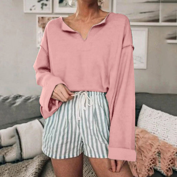 Solid Color V Neck Casual Blouses