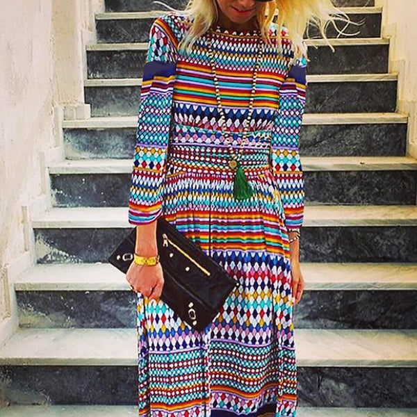 Boho 3/4 Sleeve Printed Dresses
