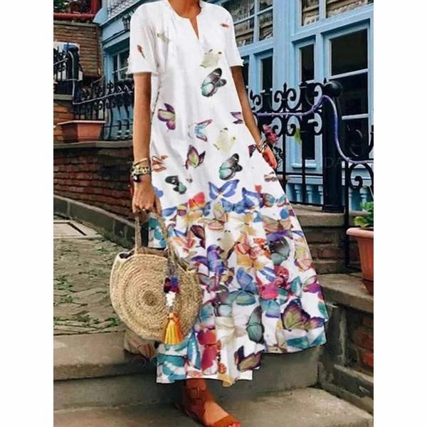 Women Butterfly Printed V-Neck Holiday Maxi Dresses