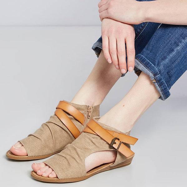 Fashion Adjustable Buckle Decoration Zipper Sandals