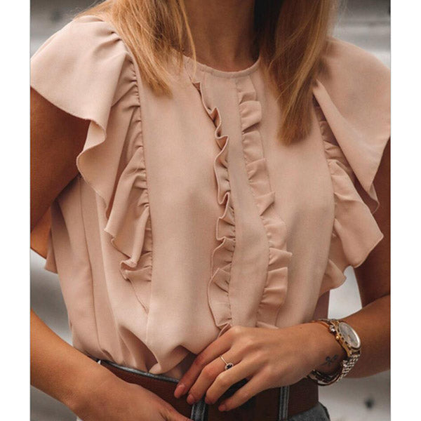 Summer Casual Round Neck Women Blouse
