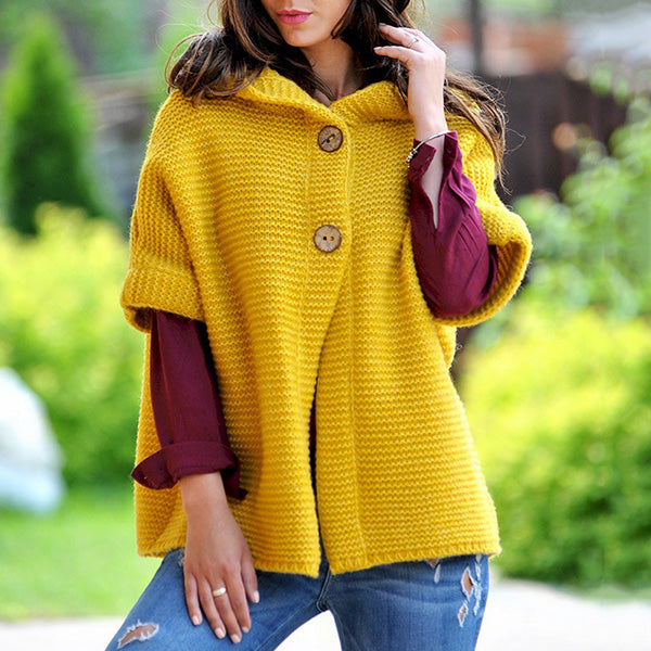 Women's Buttons 1/2 Sleeve Sweater