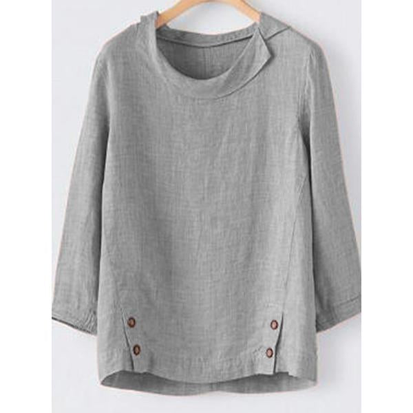 Casual 3/4 Sleeve Buttoned Shirts & Blouse