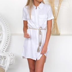 Daily Short Sleeve Solid Color Buttons Dresses