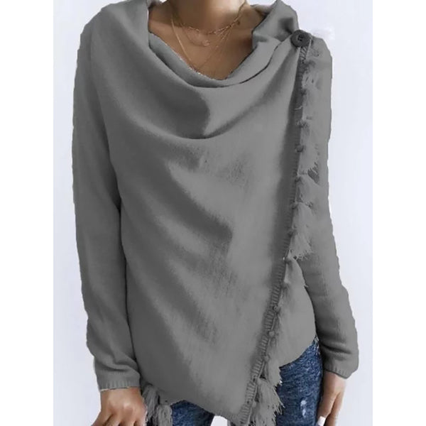 Women Crew Neck Plain Casual Sweaters