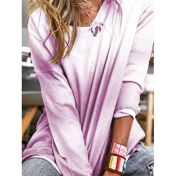 Casual Long Sleeve Ombre/Tie-Dye Blouses
