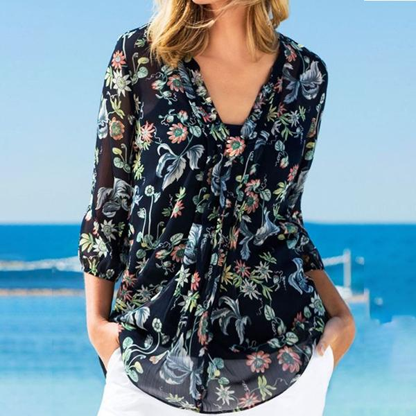 Flower Printed Fashion Blouse