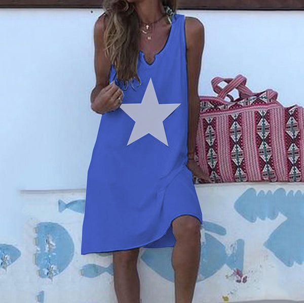 Star Printed Sleeveless V Neck Dress