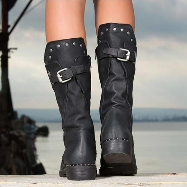 Mid-calf Casual Side Zippers Motorcycle Boots