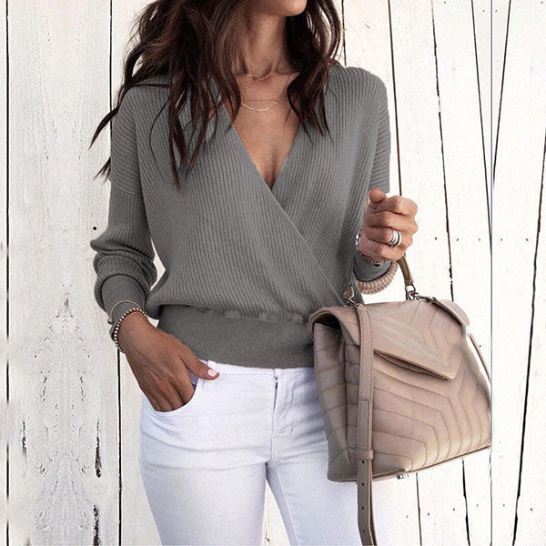 Women V Neck Long Sleeve Blouse