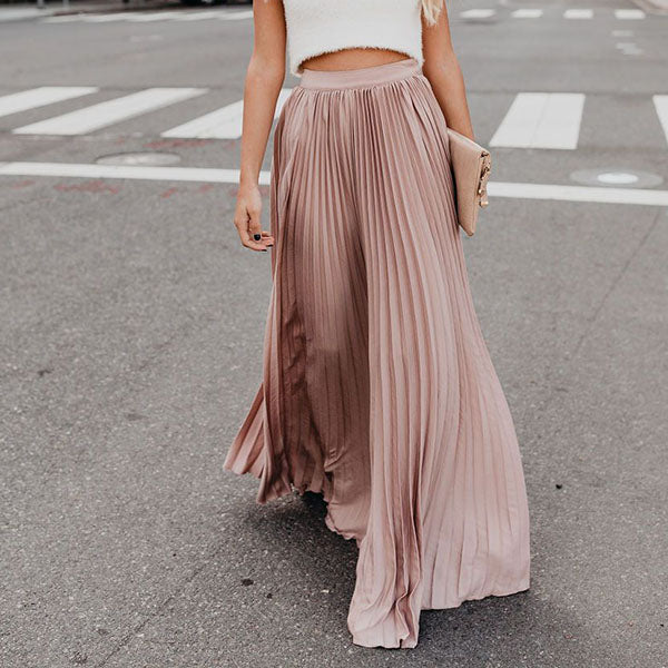Elegant Solid Color Pleated Skirt
