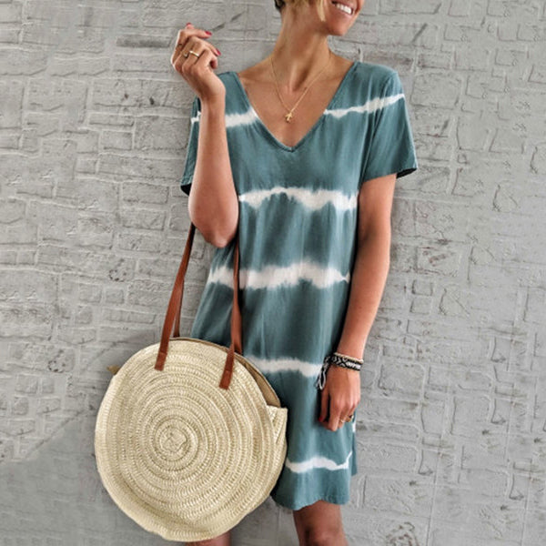 Casual Stripe Backless V Neck Dress
