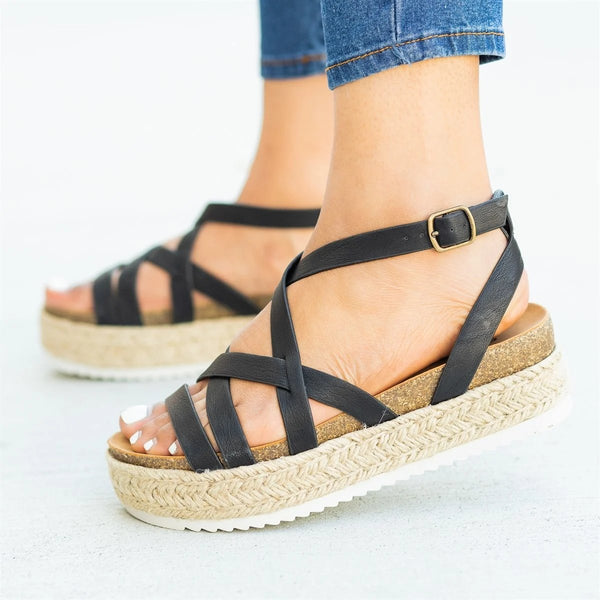 Large size Casual Flat Peep-toe Cross Buckle Sandals