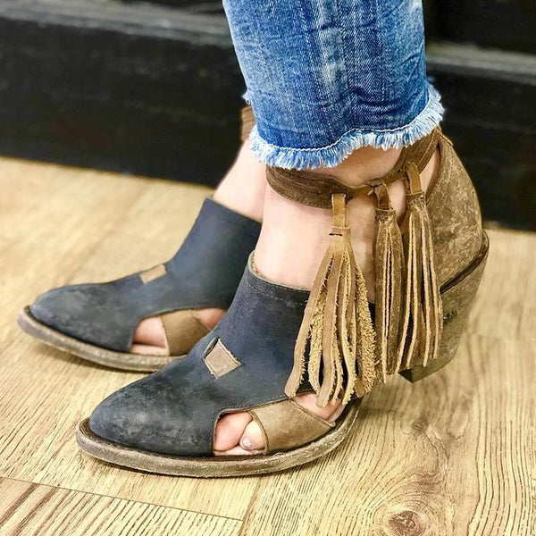 Women Vintage Ankle Boot Tassel Shoes