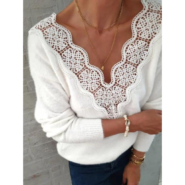 Women Casual Shift Floral Guipure Lace Sweater