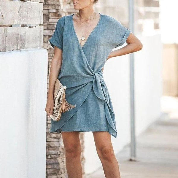 Women Summer V-neck Solid Color Knotted Dress