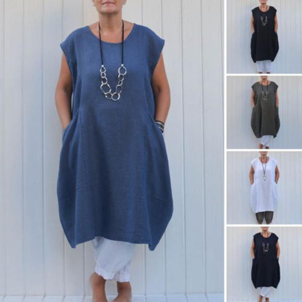 Plus Size Solid Color Pocket Linen Dress
