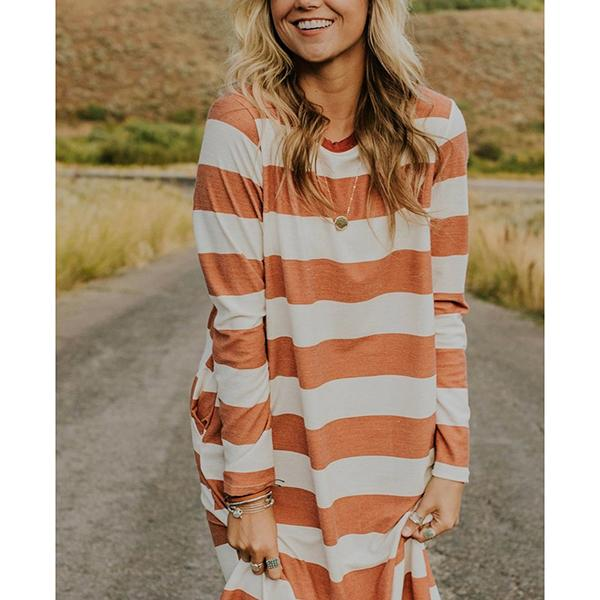 Women's Long Sleeve Fall Striped Dresses
