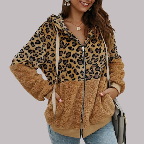 Leopard Zip-Up Patchwork Hooded Coats