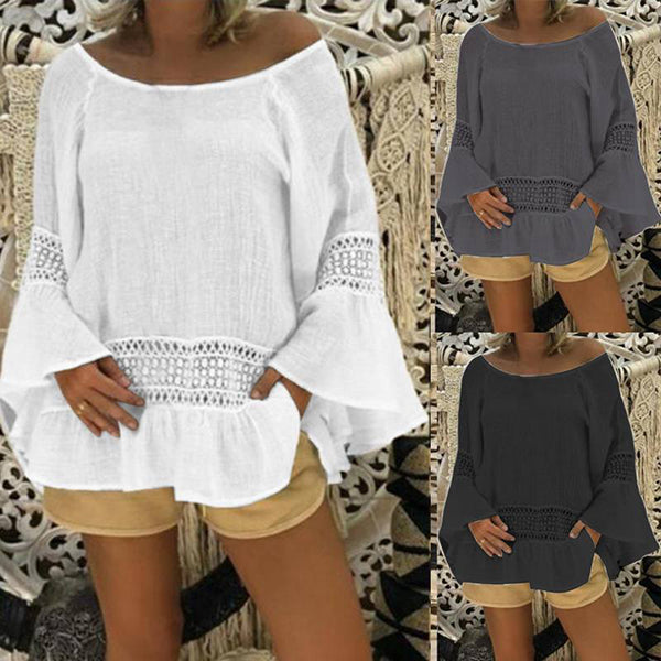 Ruffle Sleeve Hollow Loose Round Neck Blouse