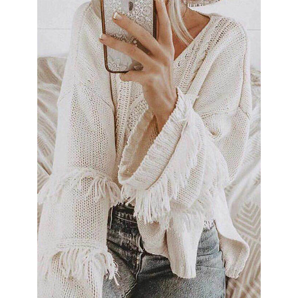 Casual Women Tassel V-neck Sweaters