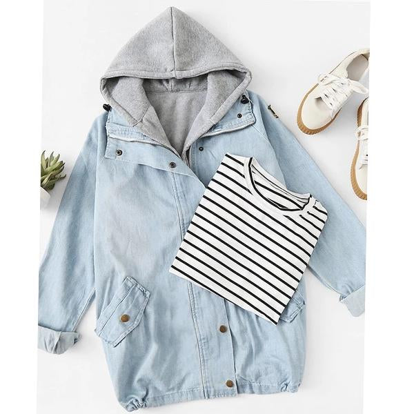 Plus Size Color Block Pocket Patchwork Zipper Women's Jacket Suit