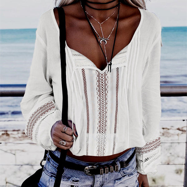 Casual Pure Color V Neck Long Sleeve Blouses