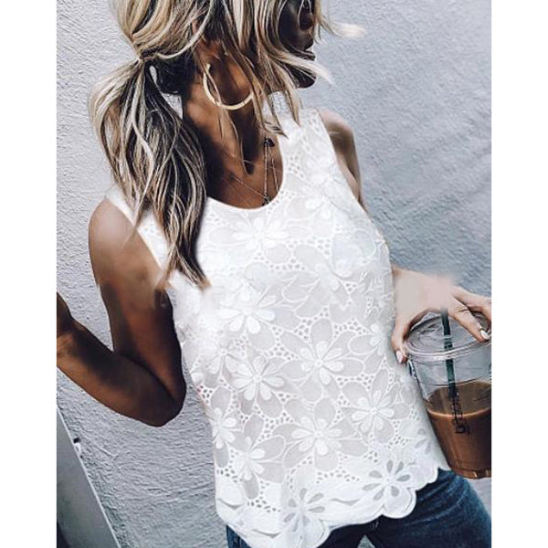 Casual Hollowed-out Round Neck Sleeveless Blouse