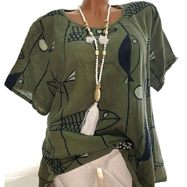 Casual Loose Printed Round Neck Blouse
