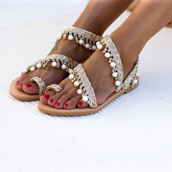Bohemian Artificial Pearl Decoration Flat Slippers