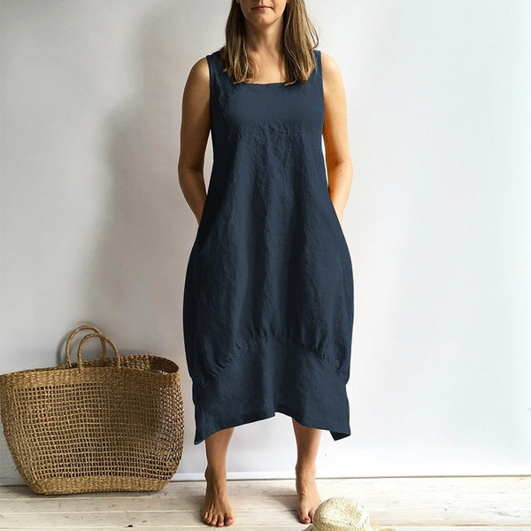Summer Cotton Linen Sleeveless Dress