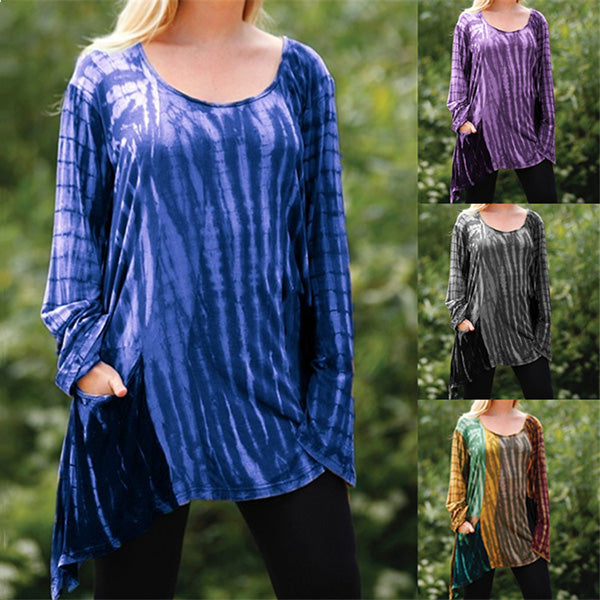 Casual Long Sleeve Gradient Women Fashion Blouse