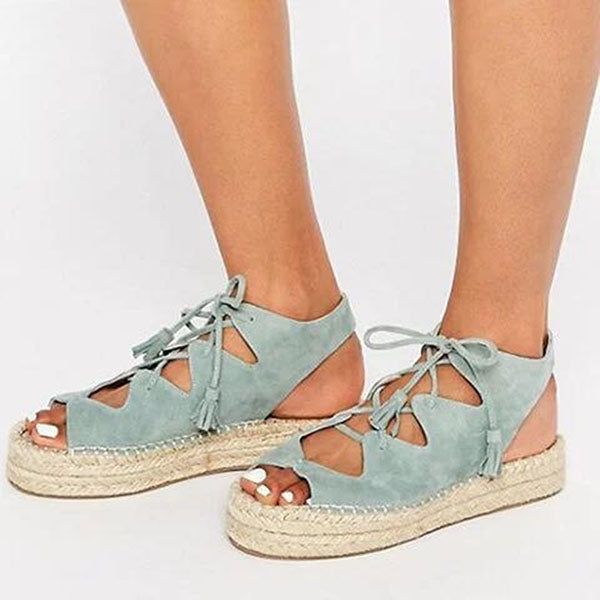 Fish Toe Lace-Up Sandals