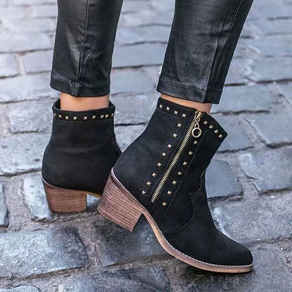 Fashion Pointed Toe Side Zipper Boots