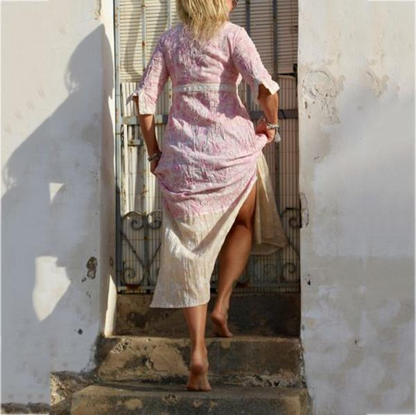 Summer Holiday V-Neck Printed Split Dress
