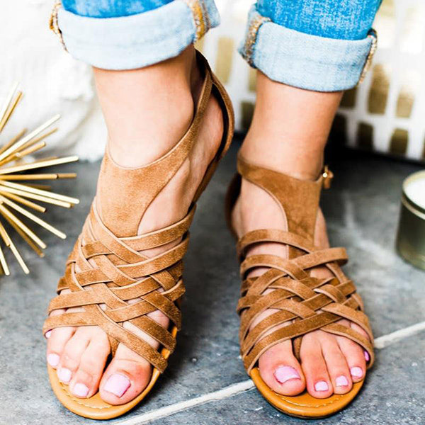 Casual Cross Strap Flat Sandals