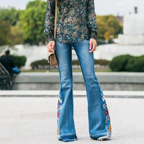 Embroidered Stretchy Denim Frayed Jeans