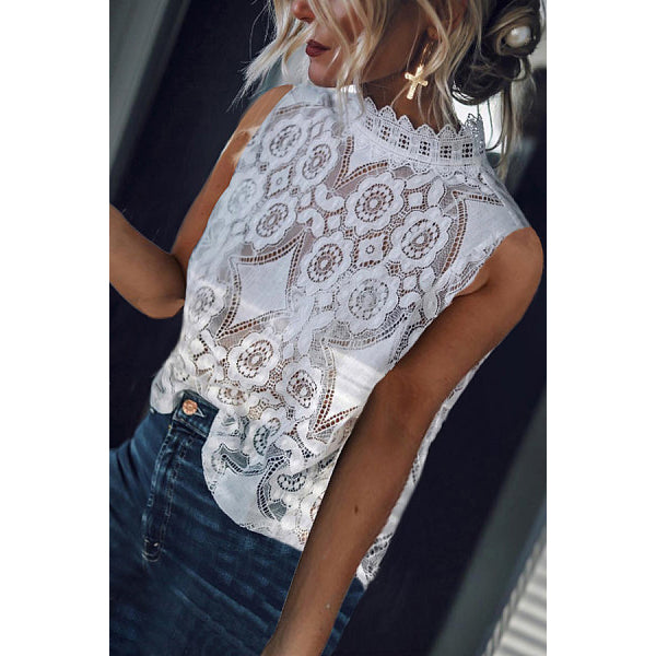 Sexy Lace Hollow Sleeveless Blouse