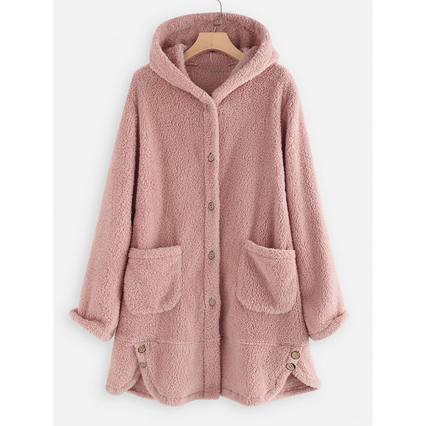 Irregular Hoodie Casual Buttoned Coats