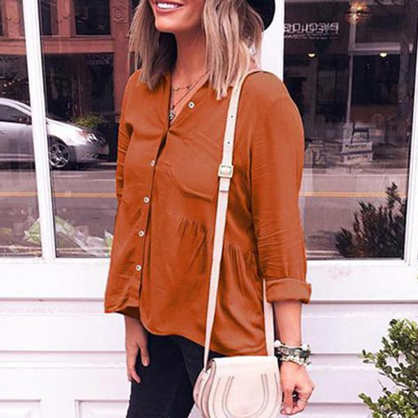 Women Long Sleeve Solid Color Plain Blouses