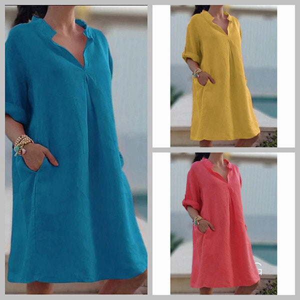 Fashion V Neck Summer Women Dress