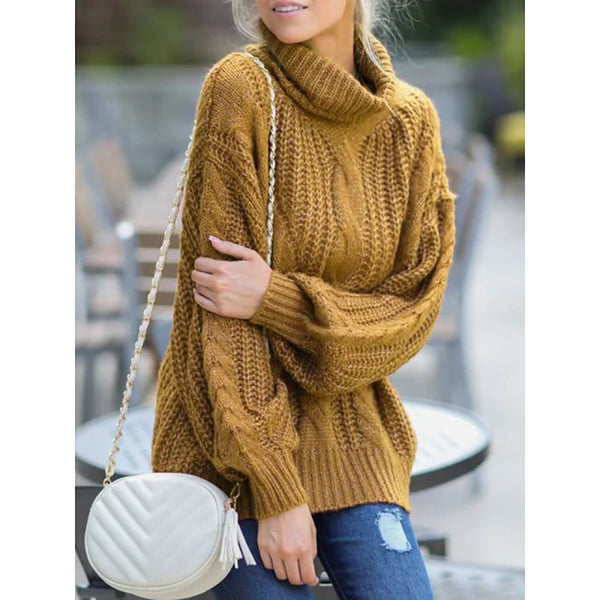 Women's Plus Size Cowl Neck  Pullover Sweaters